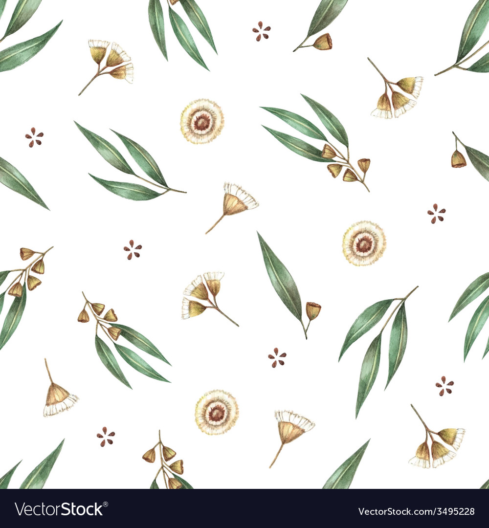 Watercolor seamless pattern branches of eucalyptus vector   Price: 1 Credit (USD $1)
