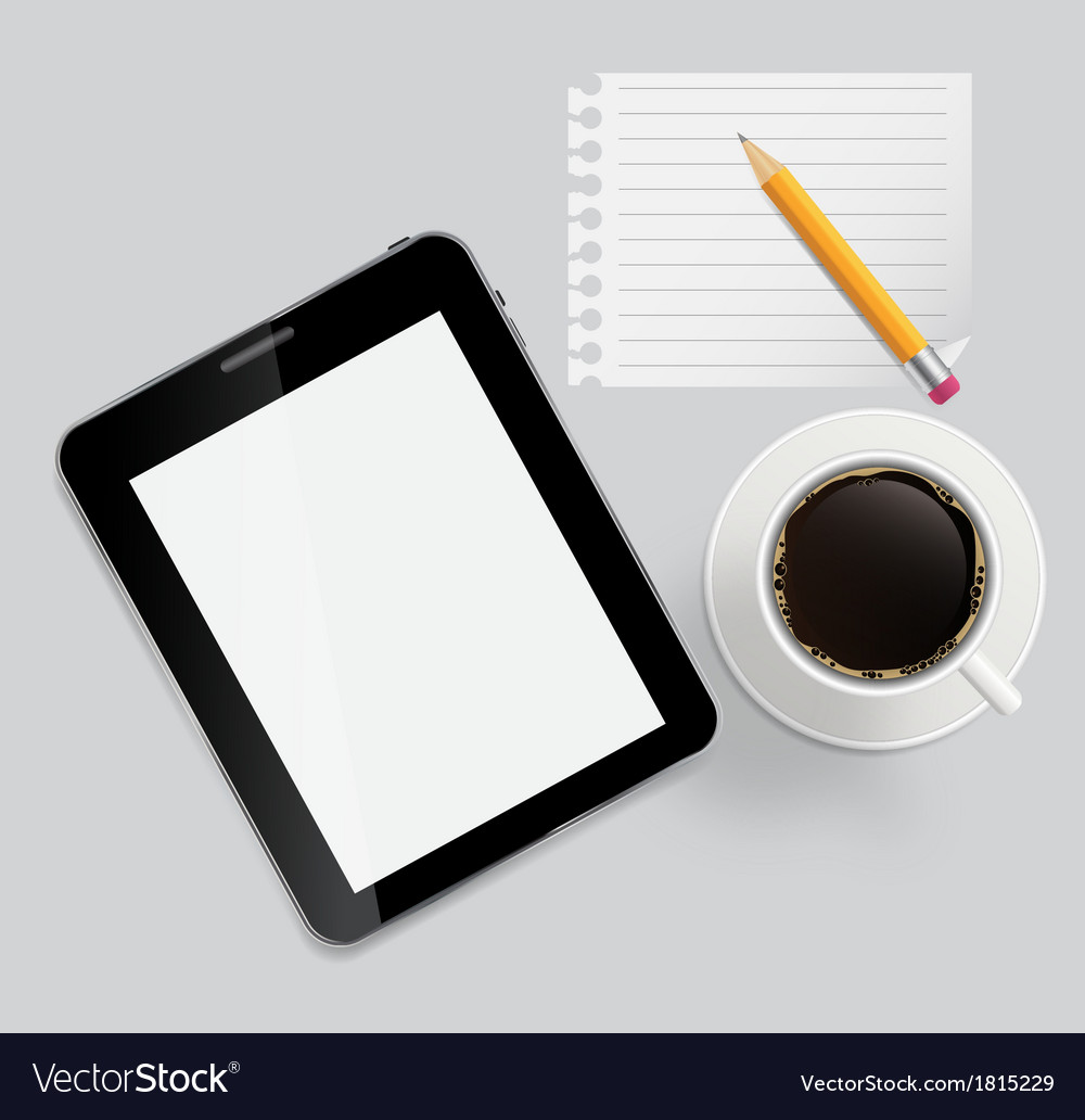 Abstract design tablet coffee pencil blank page on vector | Price: 1 Credit (USD $1)