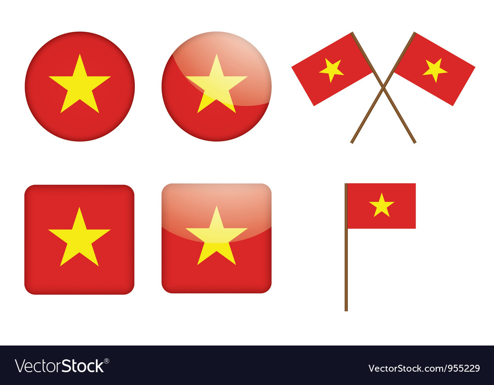 Badges with flag of vietnam vector | Price: 1 Credit (USD $1)