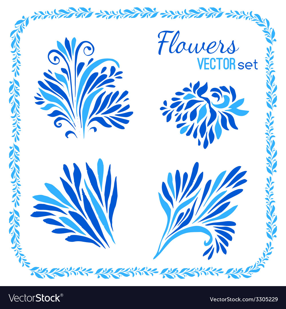 Floral elements and frames set vector | Price: 1 Credit (USD $1)