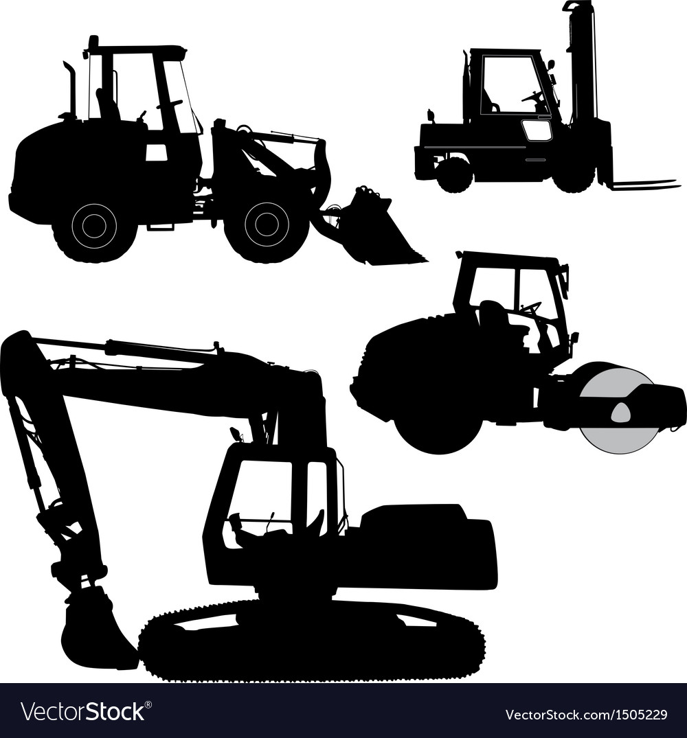Machinery set of silhouettes of road service vector | Price: 3 Credit (USD $3)