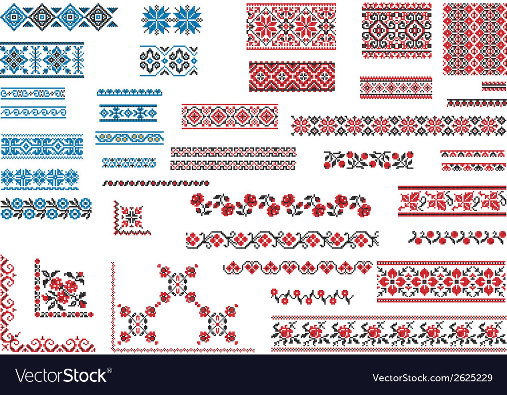 Patterns for embroidery stitch vector | Price: 1 Credit (USD $1)