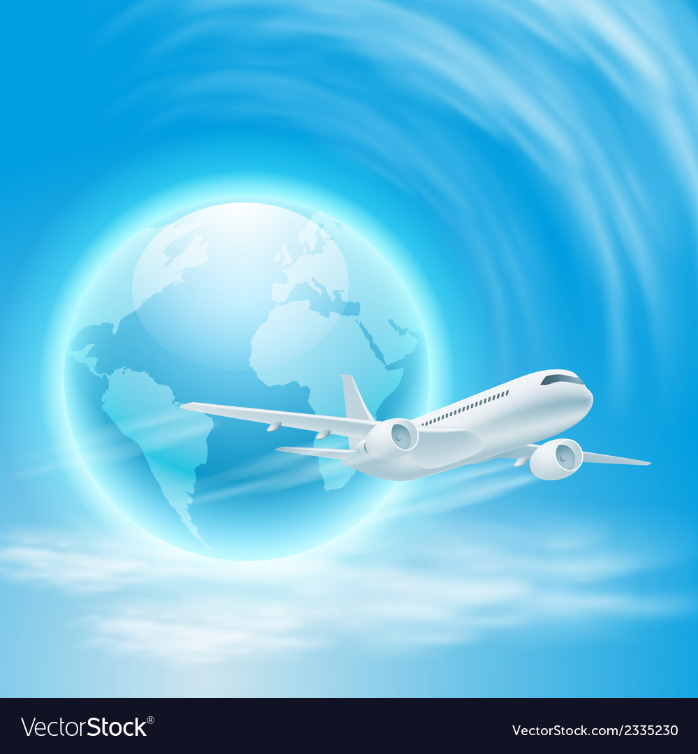 Airplane in the sky with the globe vector | Price: 1 Credit (USD $1)