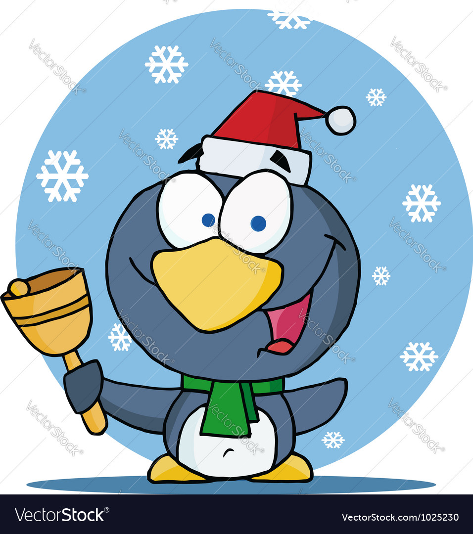 Christmas penguin bell ringer in the snow vector   Price: 1 Credit (USD $1)