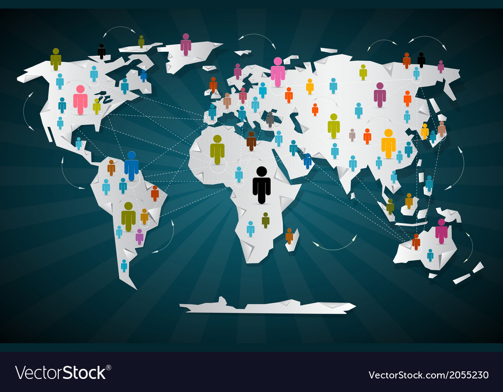 Colorful people icons on world map - social media vector | Price: 1 Credit (USD $1)