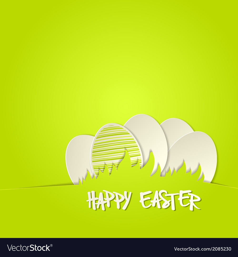 Easter bunny in grass greeting card vector | Price: 1 Credit (USD $1)
