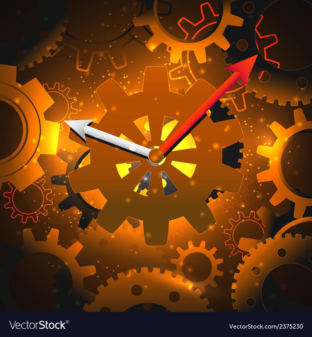 Gears clock background vector | Price: 1 Credit (USD $1)