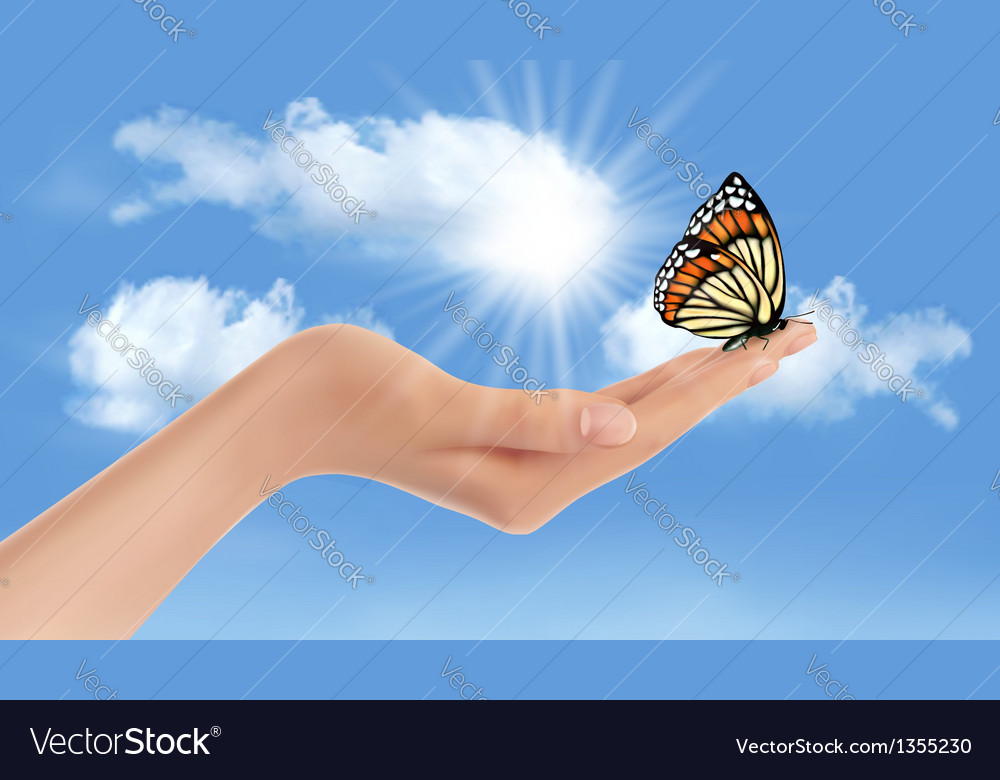 Hand holding a butterfly against a blue sky and vector | Price: 3 Credit (USD $3)