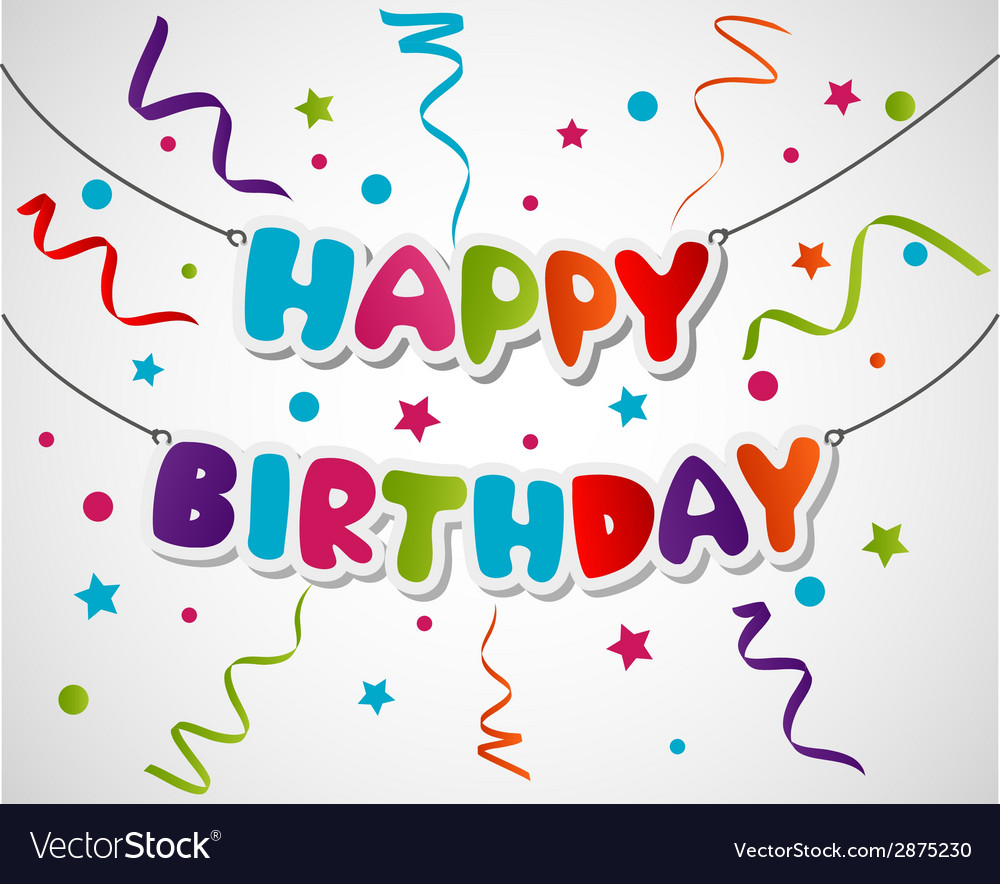 Happy birthday greeting card background vector | Price: 1 Credit (USD $1)