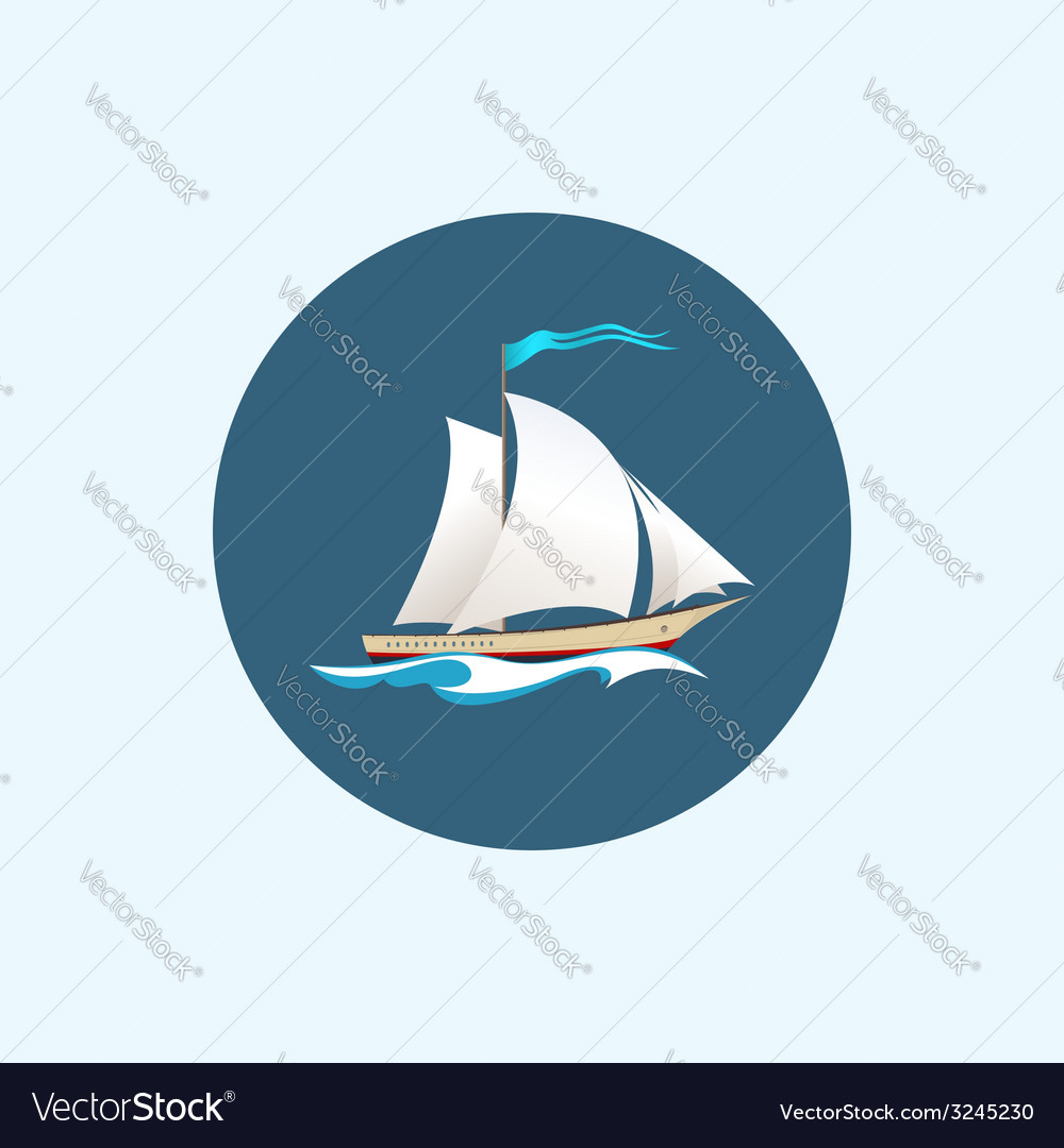 Icon with colored sailing vessel vector | Price: 1 Credit (USD $1)