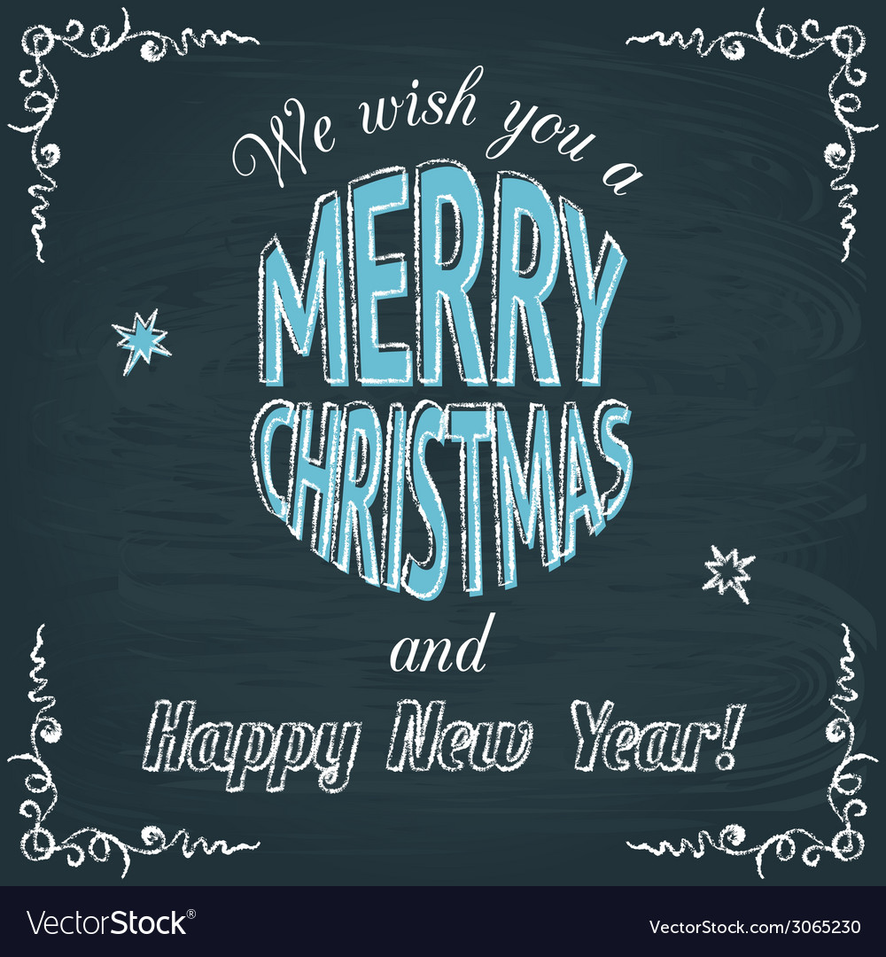 Merry christmas chalkboard greeting card vector | Price: 1 Credit (USD $1)
