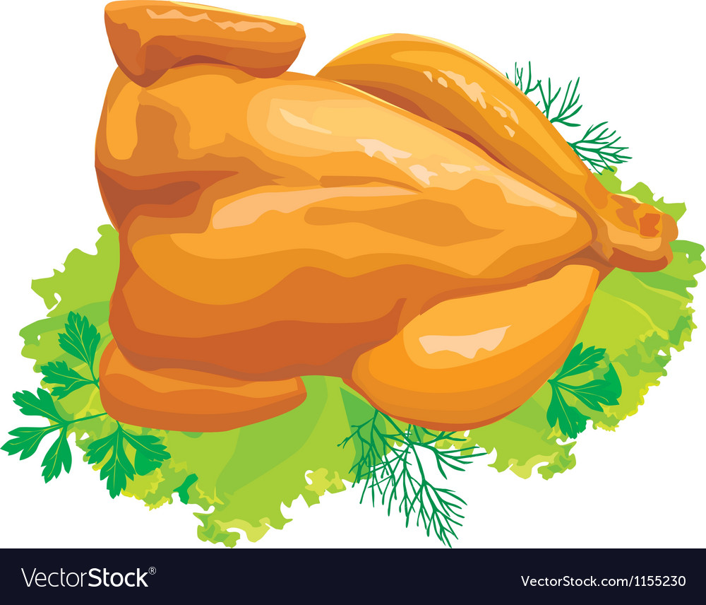 Roast chicken with herbs vector | Price: 1 Credit (USD $1)