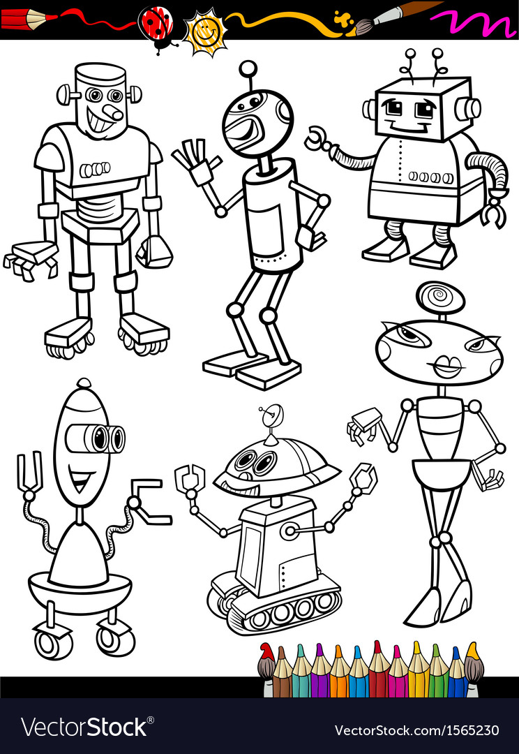 Robots cartoon set for coloring book vector | Price: 1 Credit (USD $1)