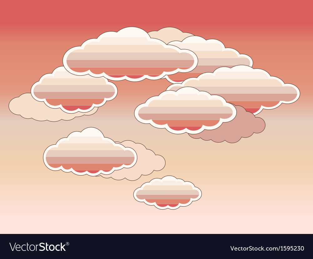 Stylized pink clouds vector | Price: 1 Credit (USD $1)