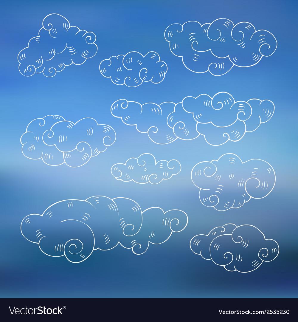 Vintage clouds set vector | Price: 1 Credit (USD $1)