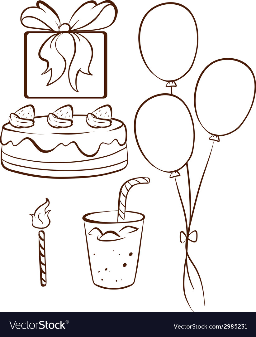 A simple drawing of a birthday celebration vector | Price: 1 Credit (USD $1)