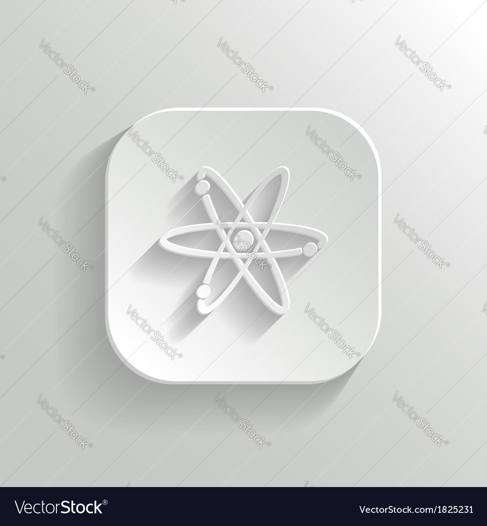 Atom icon - white app button vector | Price: 1 Credit (USD $1)