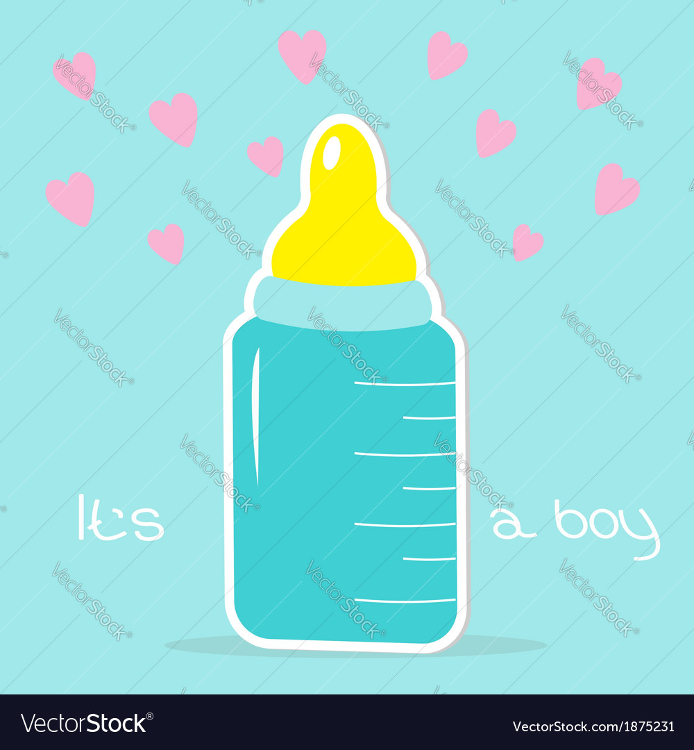 Baby boy bottle hearts shower card vector | Price: 1 Credit (USD $1)