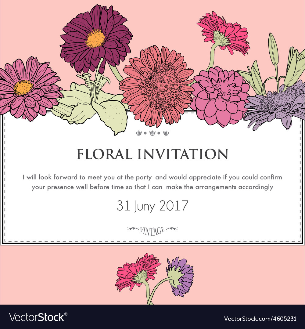 Floral horizontal invitation card vector | Price: 1 Credit (USD $1)