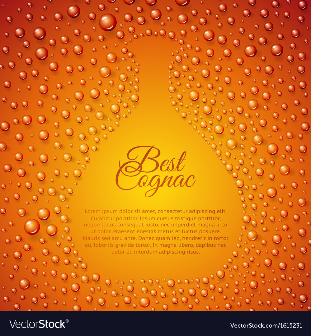 Flowing down drops of cognac in wineglass vector | Price: 1 Credit (USD $1)