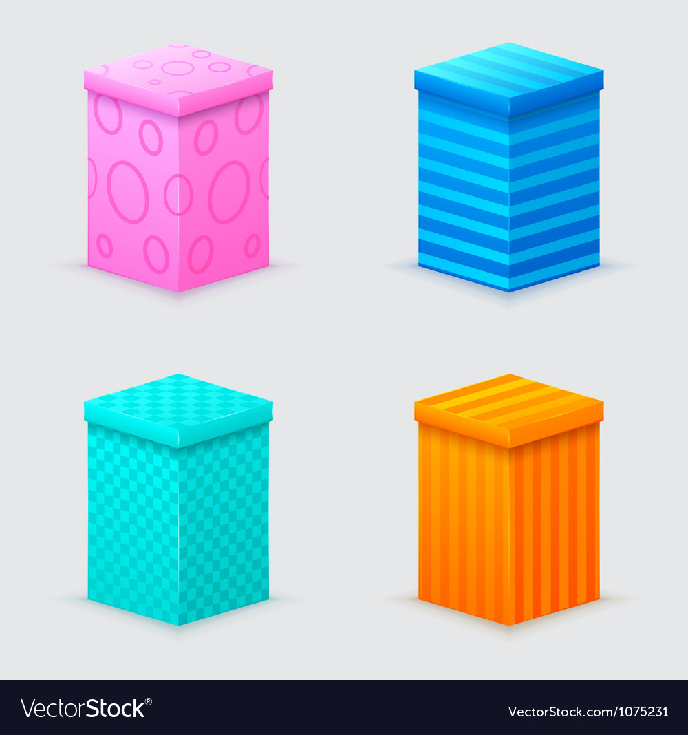 Four cones gift boxes with lids closed vector | Price: 1 Credit (USD $1)