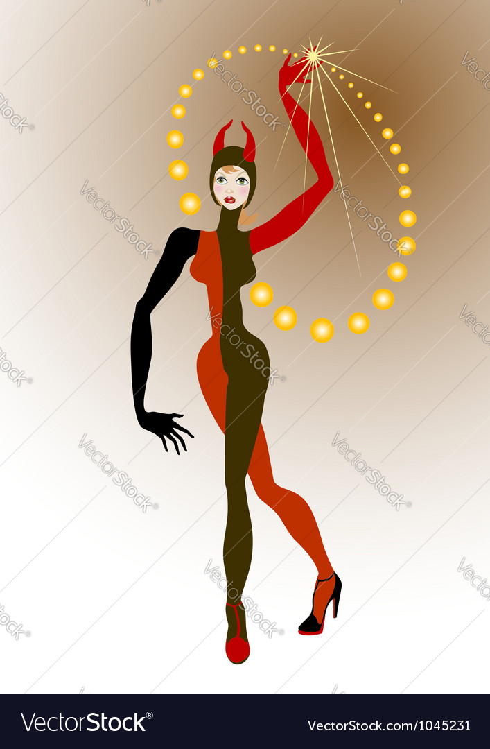 Harlequin woman juggling balls yellow vector | Price: 1 Credit (USD $1)