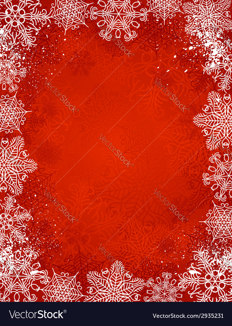 Red christmas background with frame of snowflakes vector | Price: 1 Credit (USD $1)