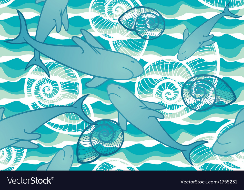 Seamless background with sharks vector | Price: 1 Credit (USD $1)
