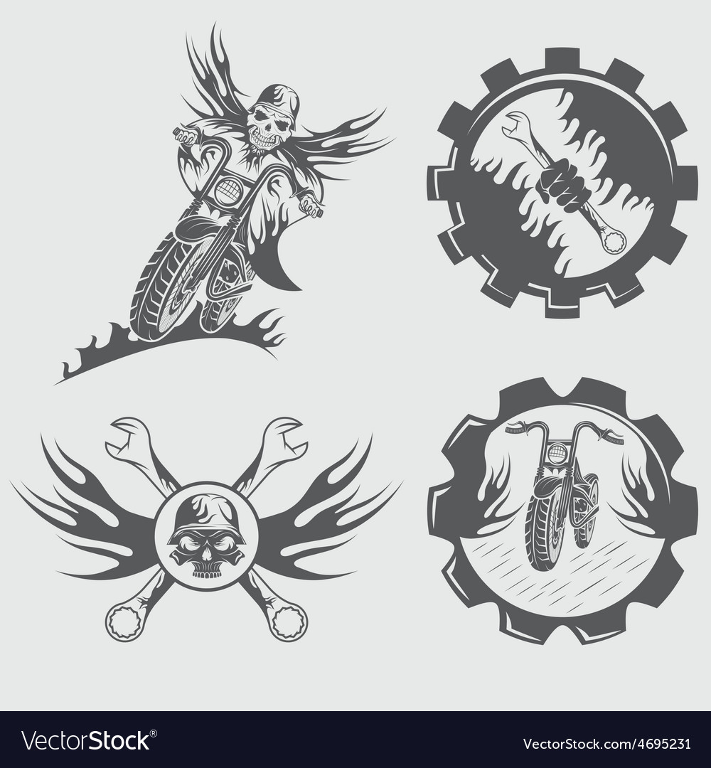 Set of bikers theme emblems with skullflames and vector | Price: 1 Credit (USD $1)