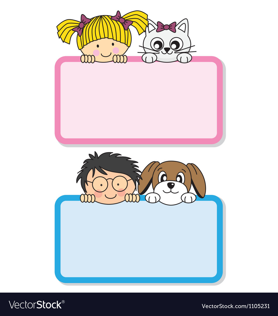 Setting children with their pets vector | Price: 1 Credit (USD $1)