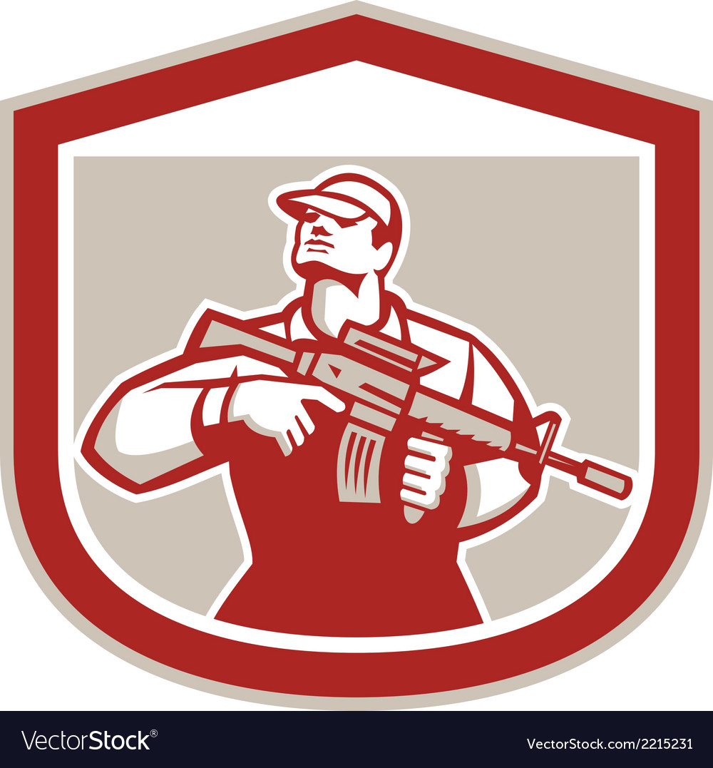 Soldier military serviceman holding assault rifle vector | Price: 1 Credit (USD $1)