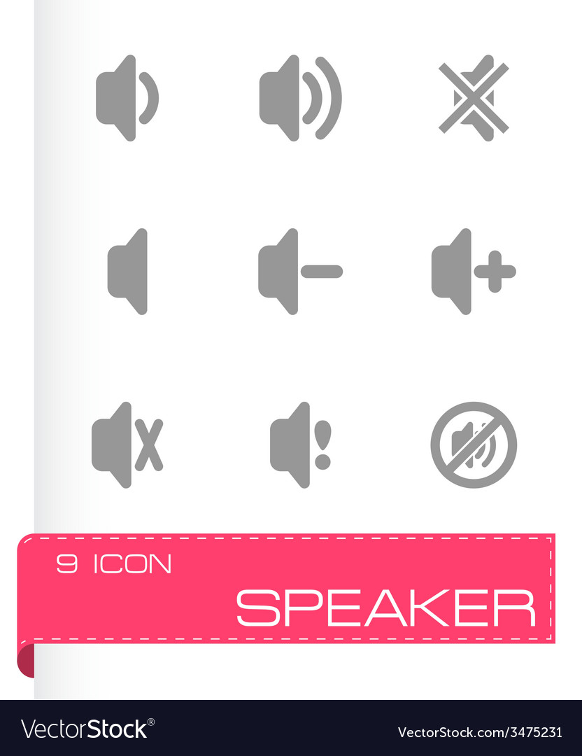 Speaker icon set vector | Price: 1 Credit (USD $1)