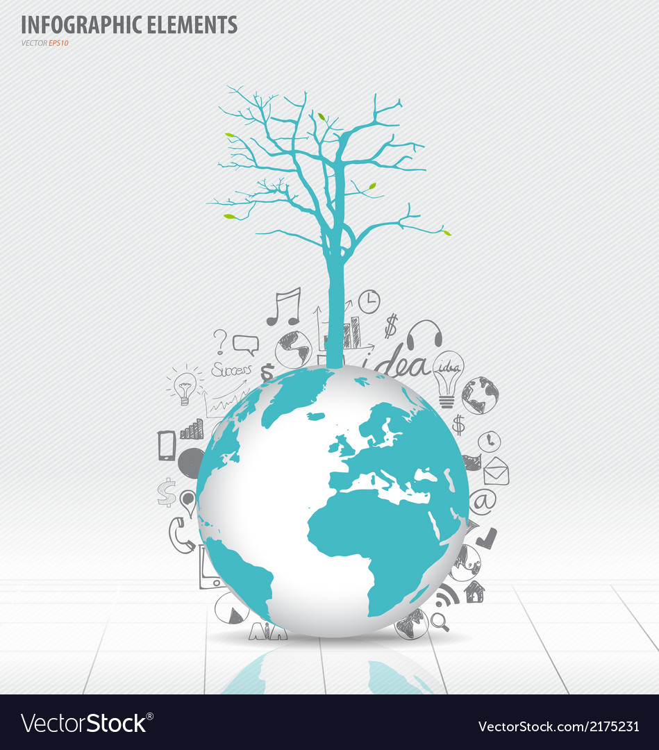 Tree on modern world globe with application icon vector | Price: 1 Credit (USD $1)