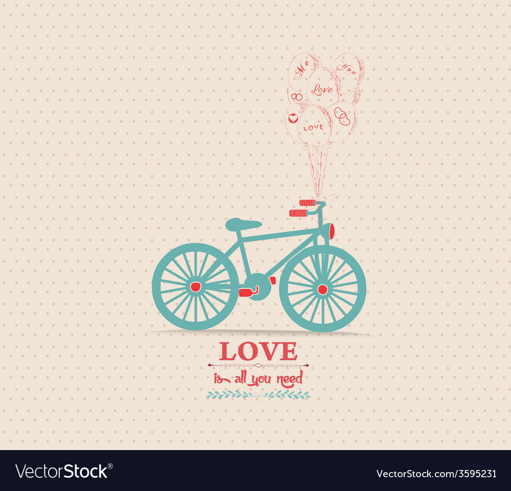 Valentines poster with balloons bicycle card vector | Price: 1 Credit (USD $1)