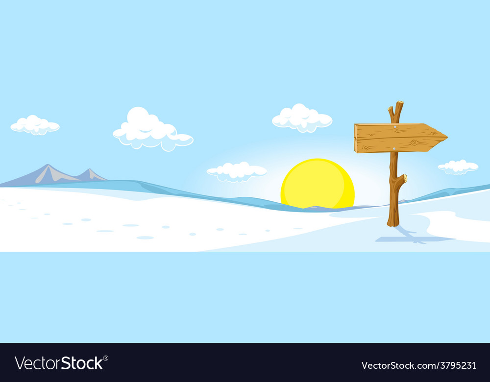 Winter landscape with footprint in snow and sign vector | Price: 1 Credit (USD $1)