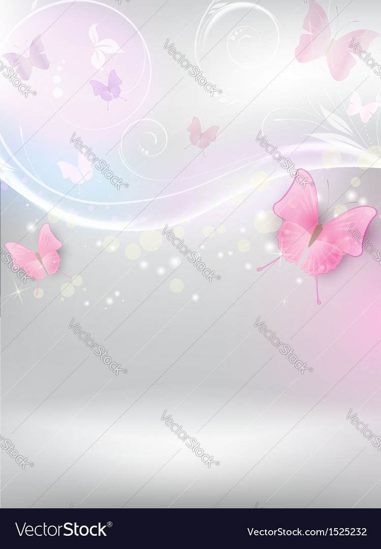 Abstract background with florals and butterflies vector | Price: 1 Credit (USD $1)