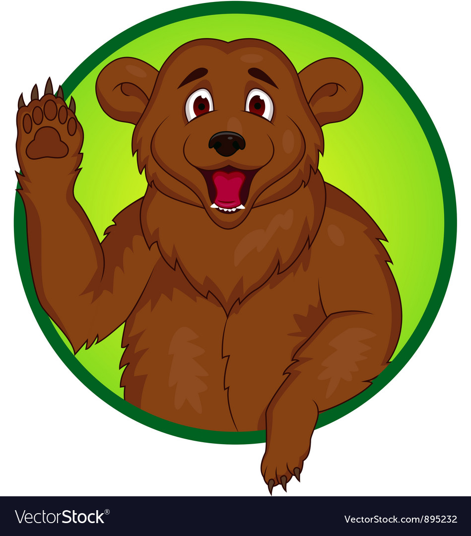 Bear cartoon waving hand vector | Price: 3 Credit (USD $3)