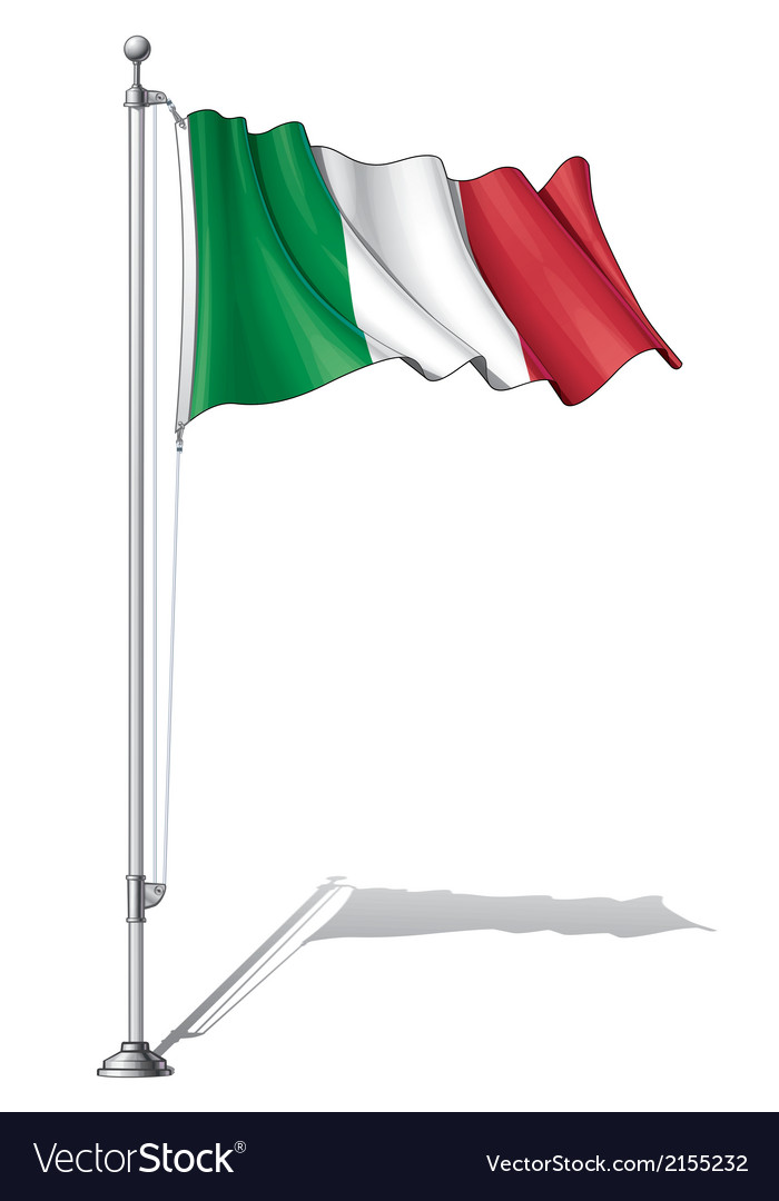 Flag pole italy vector | Price: 1 Credit (USD $1)