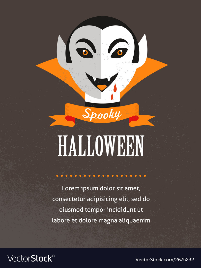 Halloween cute poster with dracula vector | Price: 1 Credit (USD $1)