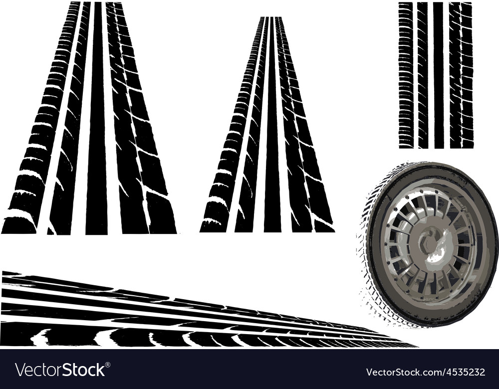 Tyre and tyre tracks vector | Price: 1 Credit (USD $1)