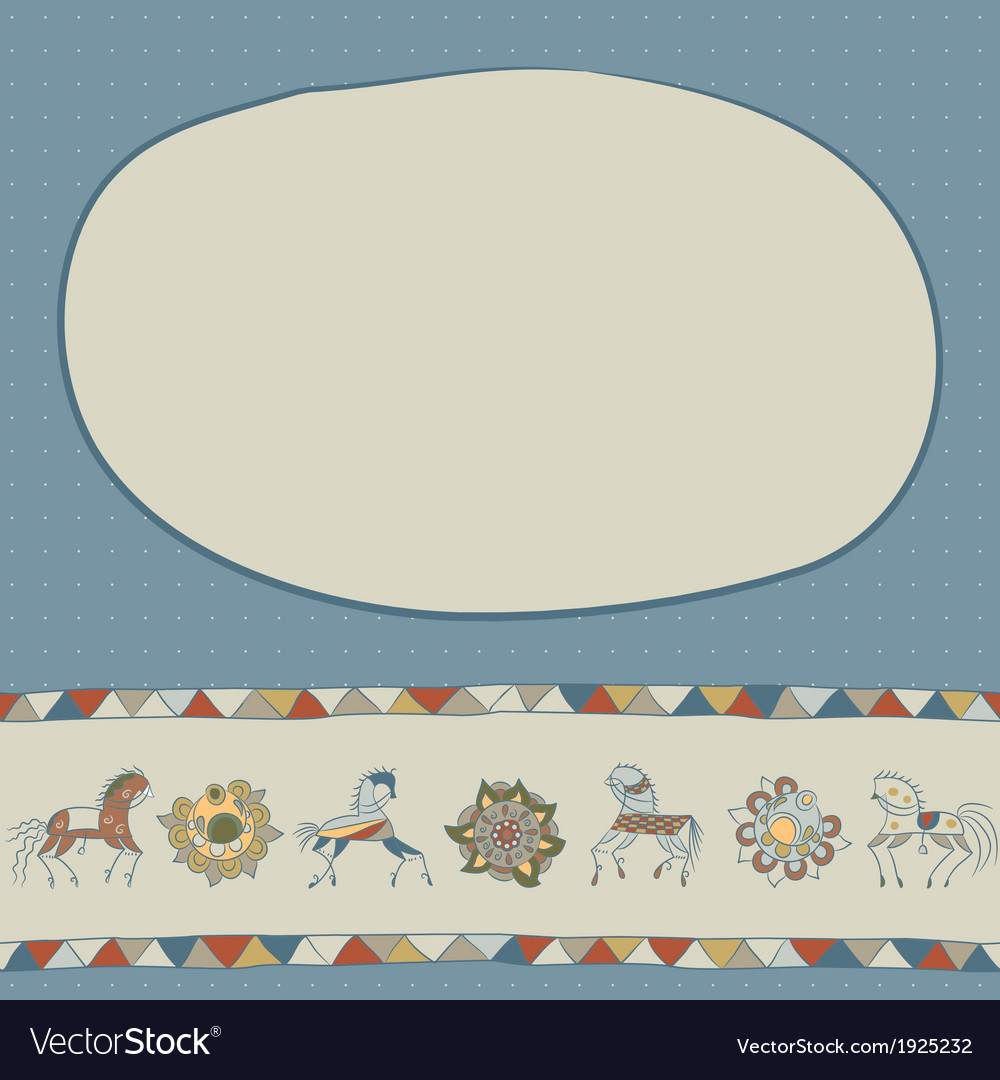 With horses flower and patterns vector | Price: 1 Credit (USD $1)