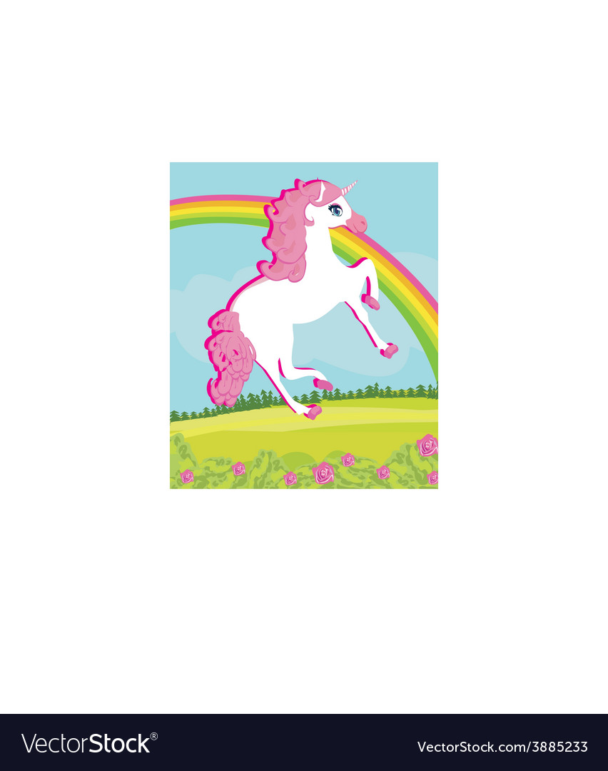 Card with a cute unicorn vector | Price: 1 Credit (USD $1)