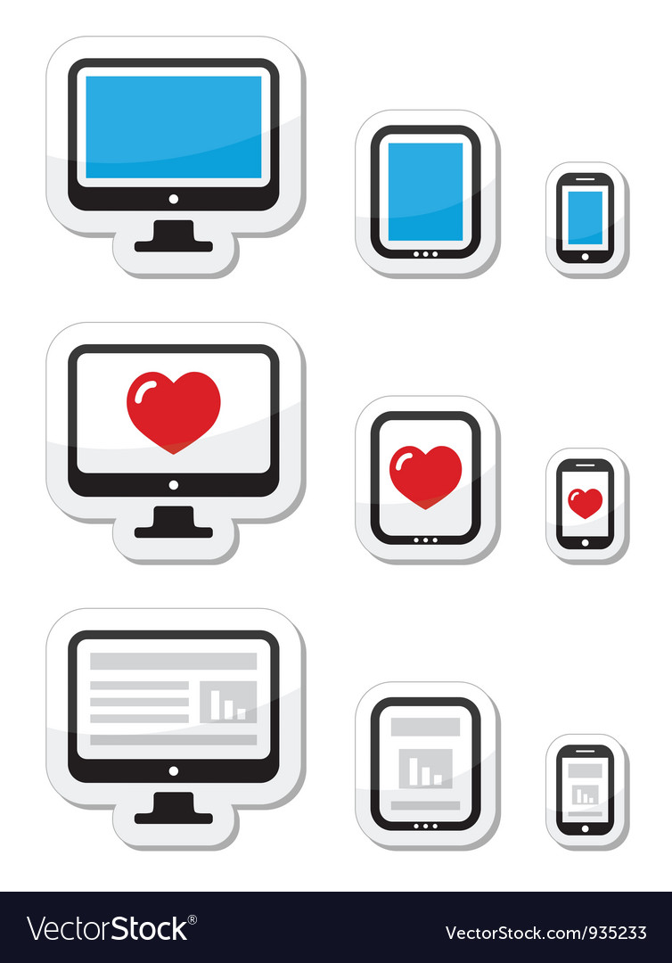 Computer screen tablet and smartphone icons vector | Price: 1 Credit (USD $1)