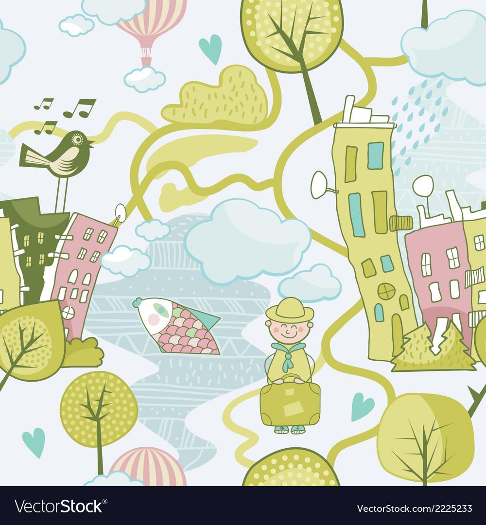 Cute landscape pattern vector | Price: 1 Credit (USD $1)
