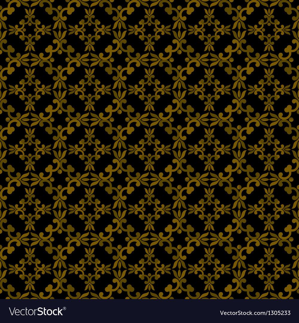 Dark brown colors art nouveau plant pattern design vector | Price: 1 Credit (USD $1)