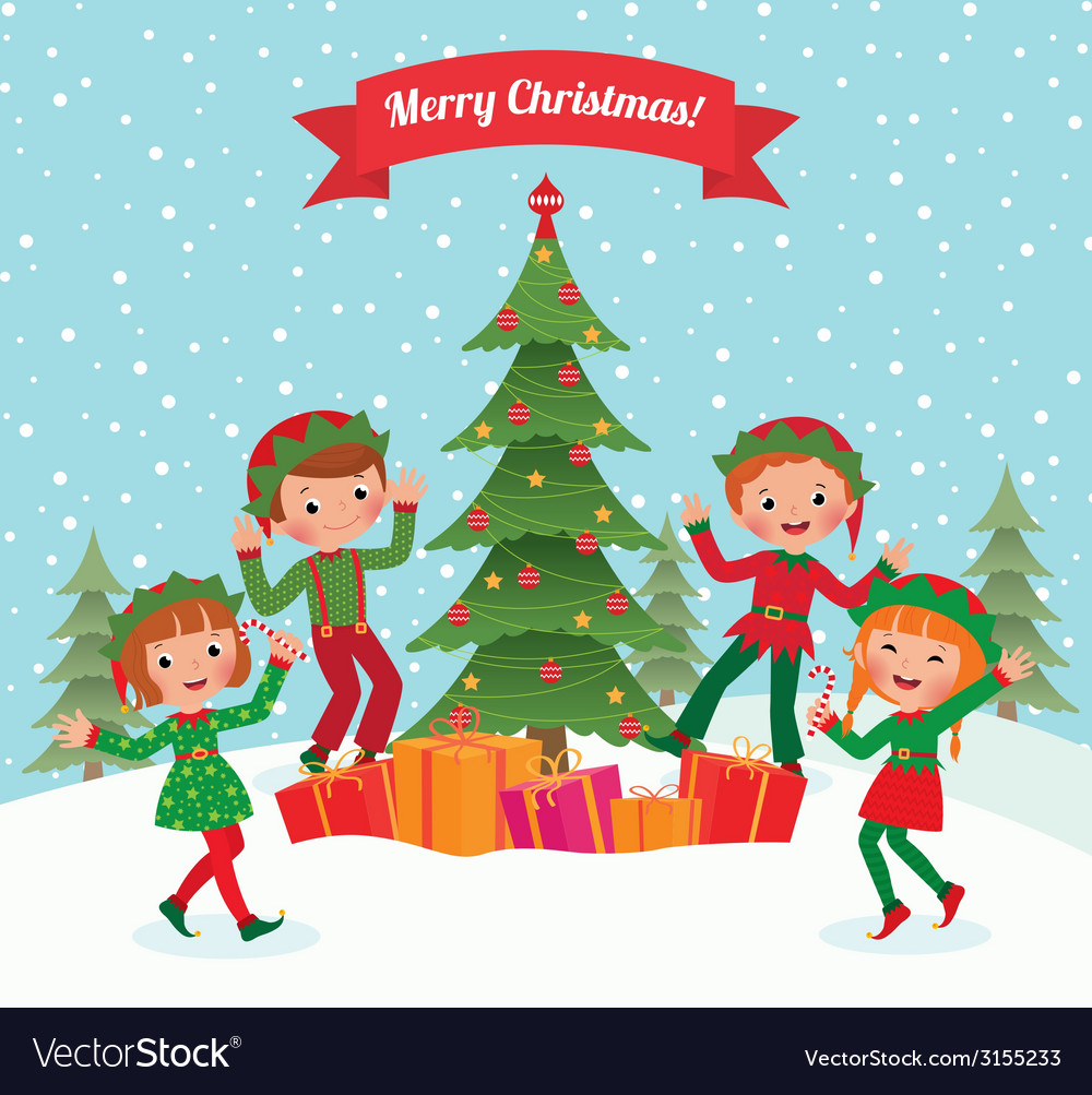Elves and christmas tree vector | Price: 1 Credit (USD $1)