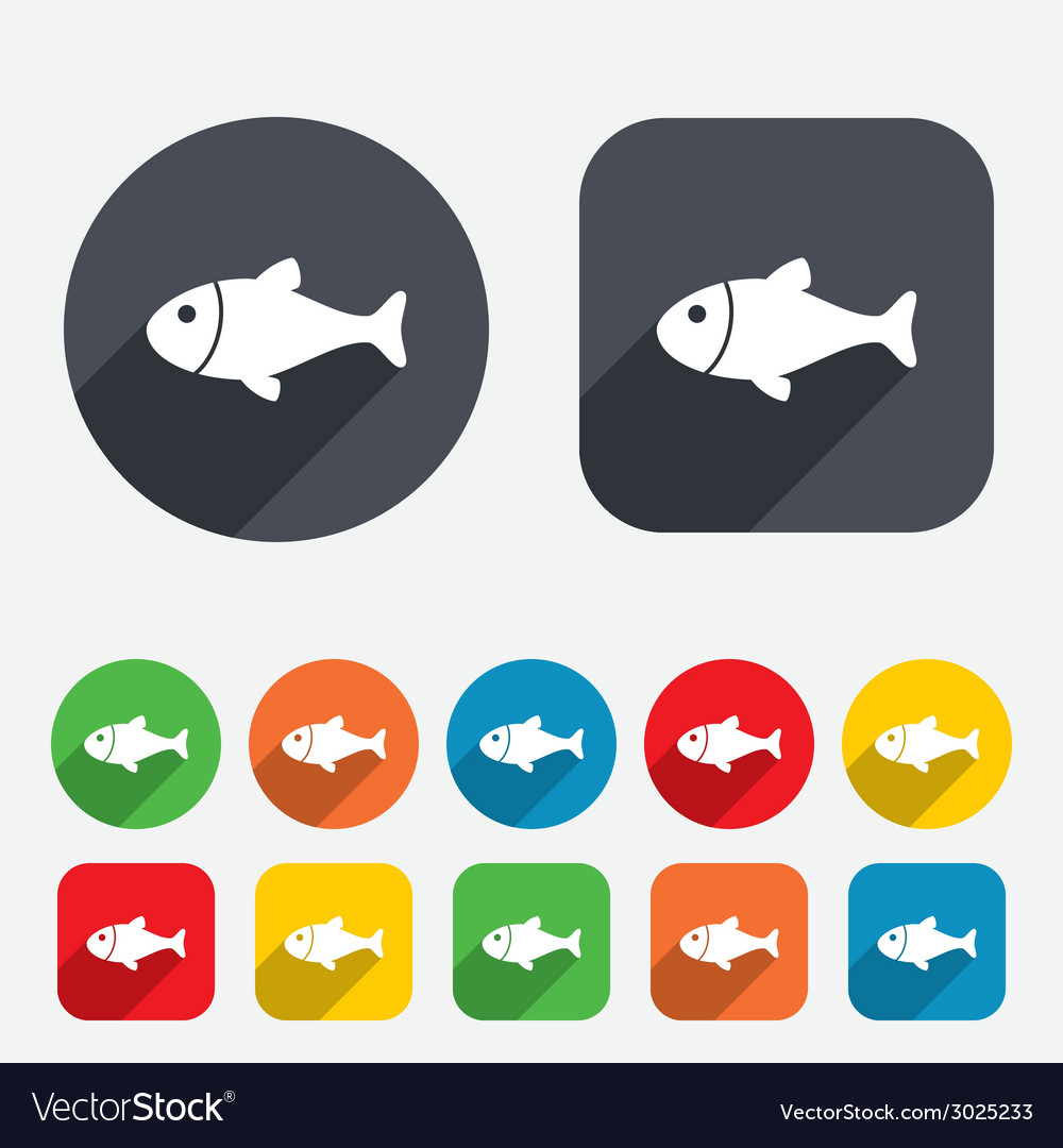 Fish sign icon fishing symbol vector | Price: 1 Credit (USD $1)