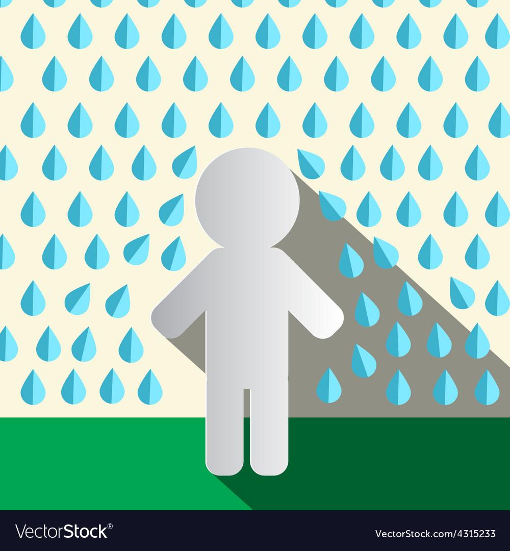 Paper man in rain flat design vector | Price: 1 Credit (USD $1)