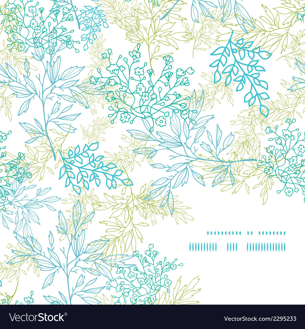 Scattered blue green branches frame corner pattern vector | Price: 1 Credit (USD $1)