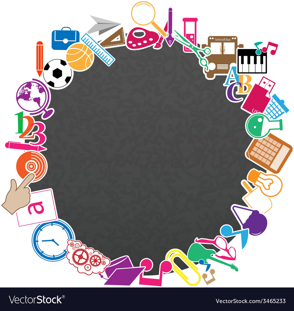 Seamless pattern with colorful school icons vector | Price: 1 Credit (USD $1)